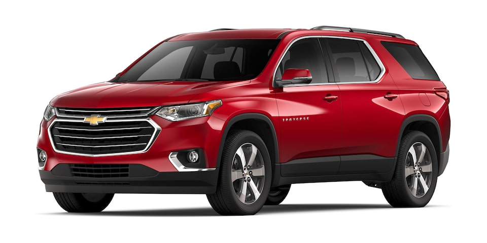 Chevrolet Traverse 2020, camioneta familiar en color rojo escarlata